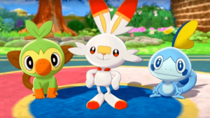 Younger Gaming GIfts - The three starter characters from pokemon sword and shield